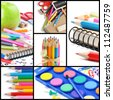 Colorful school supplies isolated over white. Collage - stock photo