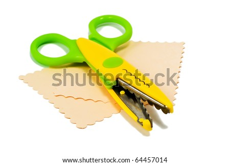 colorful scissors and sheets of paper over white - stock photo