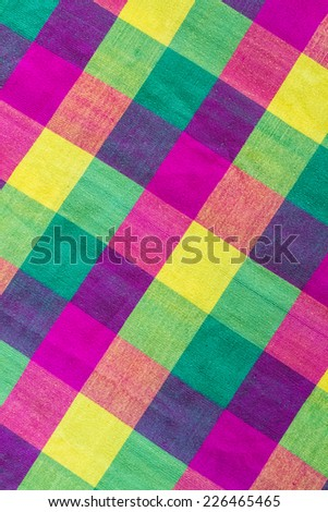 Colorful scott fabric close up background.