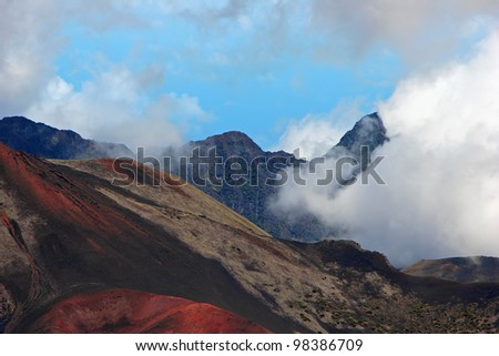 Colorful Sculptured Crater Haleakala Summit Maui Hawaii - stock photo