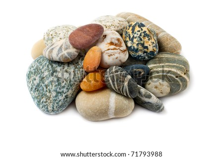 Colorful sea pebbles, isolated on white background.Texture. - stock photo