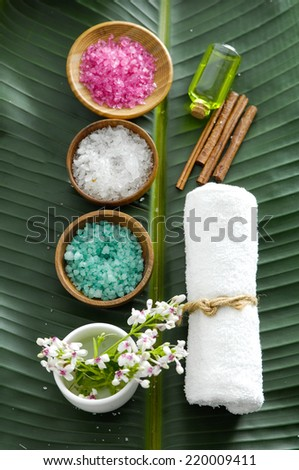 colorful sea salt ,flower in wooden bowl with towel, flower on banana leaf  - stock photo