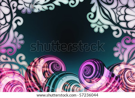 colorful sea shell illustration with soft illuminating floral border design. - stock photo