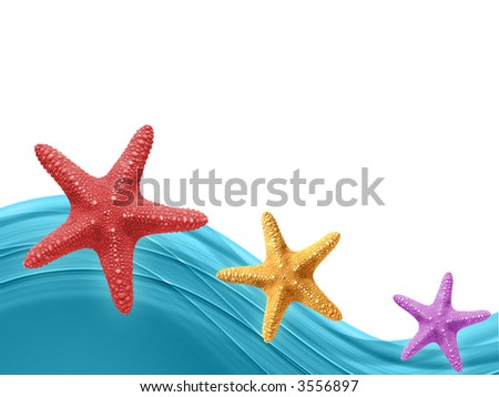 Colorful Sea stars background with free space for individual content - stock photo