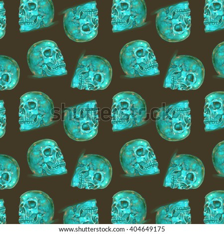Colorful Seamless crystal Skulls Dots Pattern. Turquoise on brown.