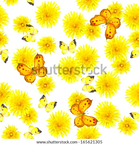 Colorful seamless floral background with butterflies and yellow dandelions - stock photo