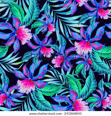 colorful seamless paradise pattern illustration in watercolor.   - stock photo