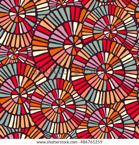 Colorful seamless pattern with hand drawn circle mosaic shapes illustration.