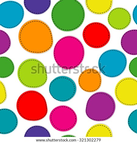 Colorful seamless pattern with round shapes on white background