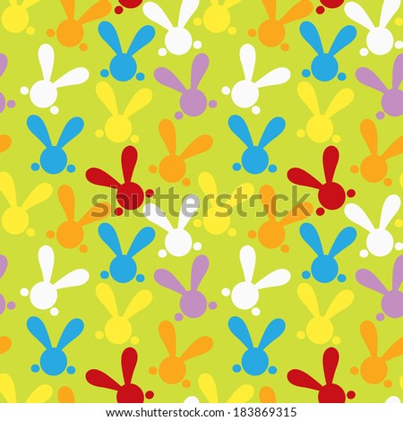 Colorful seamless patterns with easter bunny. Illustration for funny holiday design. Background for post or greeting card. Cute wallpaper with rabbits. White, orange, red, green colors. Raster version - stock photo
