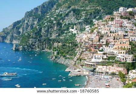 Colorful seaside town Positano, Italy - stock photo