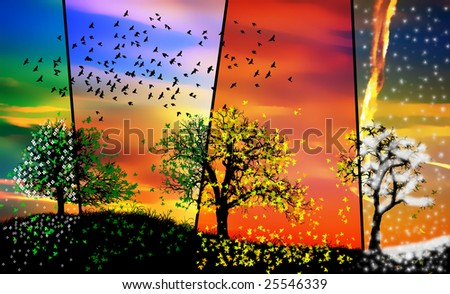 colorful seasons - stock photo