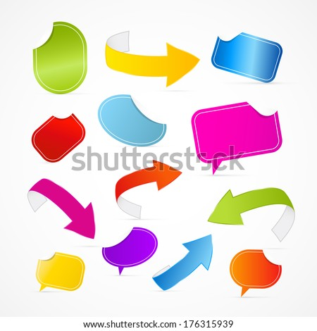 Colorful Set of Arrows, Labels, Tags, Stickers Isolated on White Background