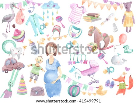Colorful set of children's illustrations in watercolor style. Accessories, clothing and toys for newborns  - stock photo