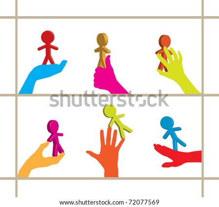Colorful set of hands holding 3D business persons / figures - raster version of vector 70387996 - stock photo