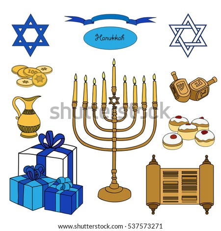 Colorful set hanukkah objects jewish holidays stock illustration colorful set of hanukkah objects jewish holidays illustration greeting card star of david m4hsunfo Image collections
