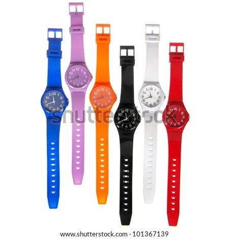 colorful set of plastic watches isolated on white - stock photo
