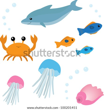Colorful set of sea life. Raster version. - stock photo