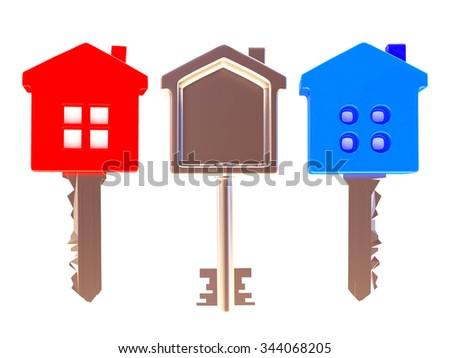 Colorful set of three house-shape keys isolated on white background - stock photo