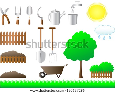 colorful set of tools for house and garden equipment - stock photo