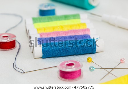 colorful sewing accessories