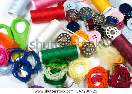 Colorful Sewing Accessories Background.