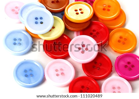 Colorful sewing buttons closeup