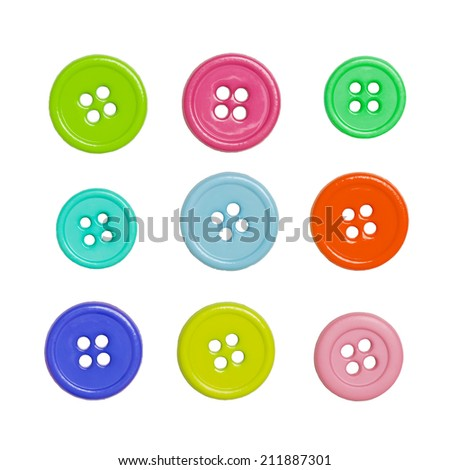 Colorful sewing buttons isolated on a white background - stock photo
