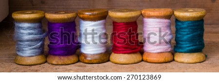 colorful sewing thread - stock photo