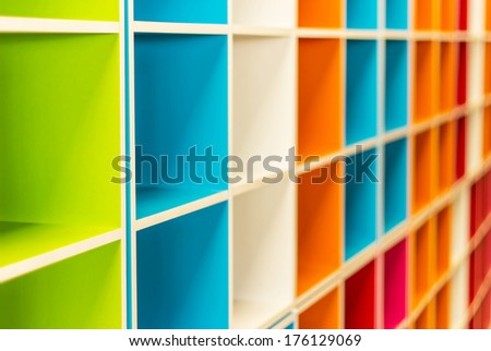 Colorful shelves of different colors , Colorful shelves is stacked  background - stock photo