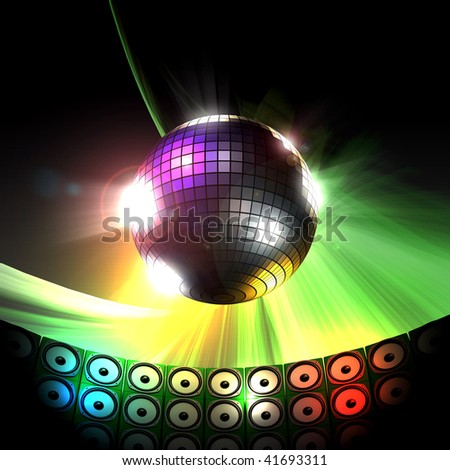 Colorful shimmering disco ball party club illustration - stock photo