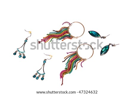 colorful, shinny earrings on white