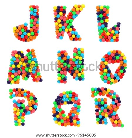 Colorful shiny candy alphabet J to R