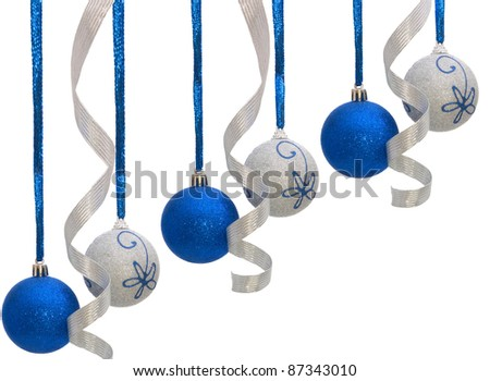 colorful shiny christmas balls isolated on white background - stock photo