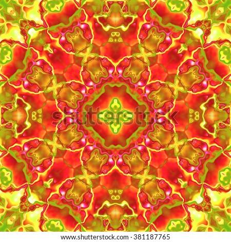 Colorful shiny jewel, seamless fractal kaleidoscopic ornament  - stock photo