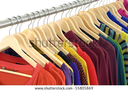 colorful shirt rack on white