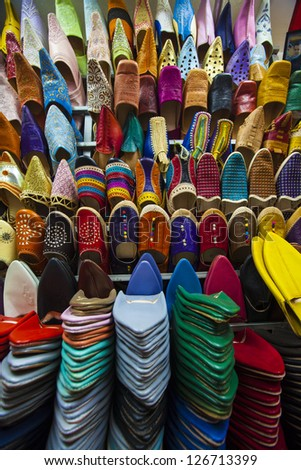 Colorful shoe stack in the Medina Souks of Marrakech, Morocco