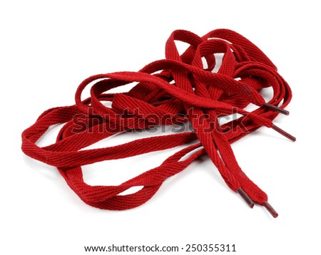 Colorful shoelaces isolated on white - stock photo