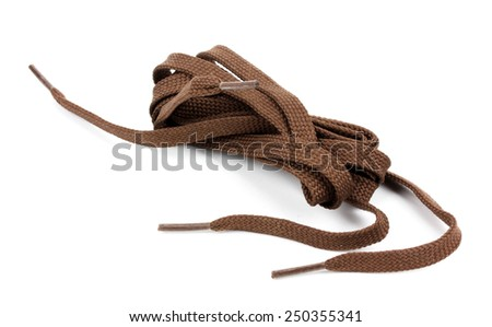 Colorful shoelaces isolated on white. - stock photo