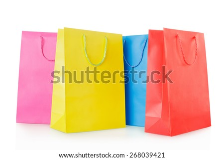 Colorful shopping bags group in paper isolated on white, clipping path included