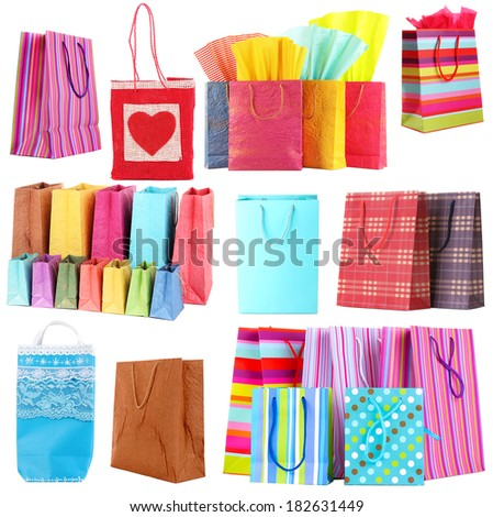 Colorful shopping bags isolated on white - stock photo