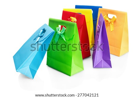 colorful shopping bags isolated on white background - stock photo