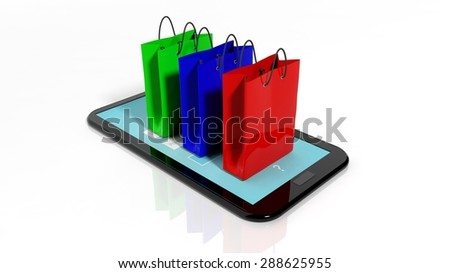 Colorful shopping bags on black smartphone/tablet screen - stock photo