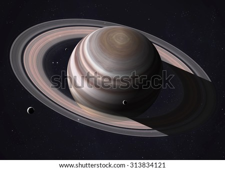 Colorful shot that shows part of Saturn and its rings illuminated sunbeams. Elements of this image furnished by NASA. - stock photo