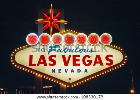 Colorful sign reads ��Welcome to Fabulous Las Vegas, Nevada�. - stock photo