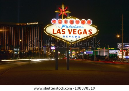 Colorful sign reads �Welcome to Fabulous Las Vegas, Nevada�. - stock photo