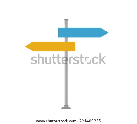Colorful signal directions in blue and orange colors - stock photo
