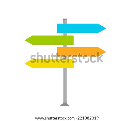 Colorful signal directions in blue, green, orange and yellow colors - stock photo