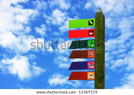 Colorful signboard with moss over cloudy blue sky.