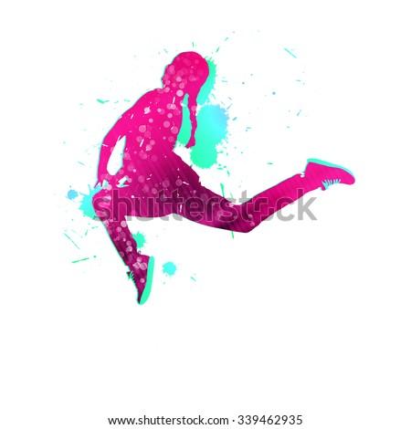 double exposure effect vector illustration running stock